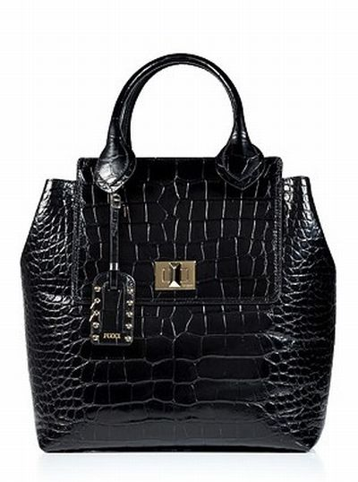 EMILIO PUCCI Black Croco-Embossed Leather Tote