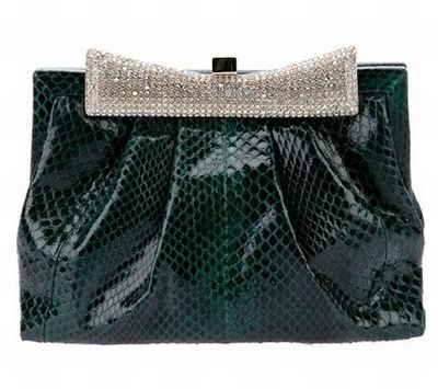 VALENTINO Green Python Evening Bag
