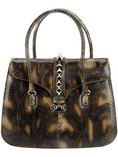 Valentino Stud Detail Snake Bag