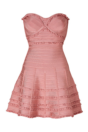 Lilian Dress in Blush Powder HERVÉ LÉGER