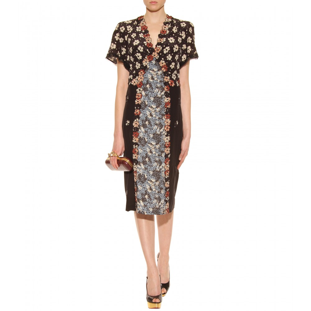 bottega veneta paneled dress with floral appliqué